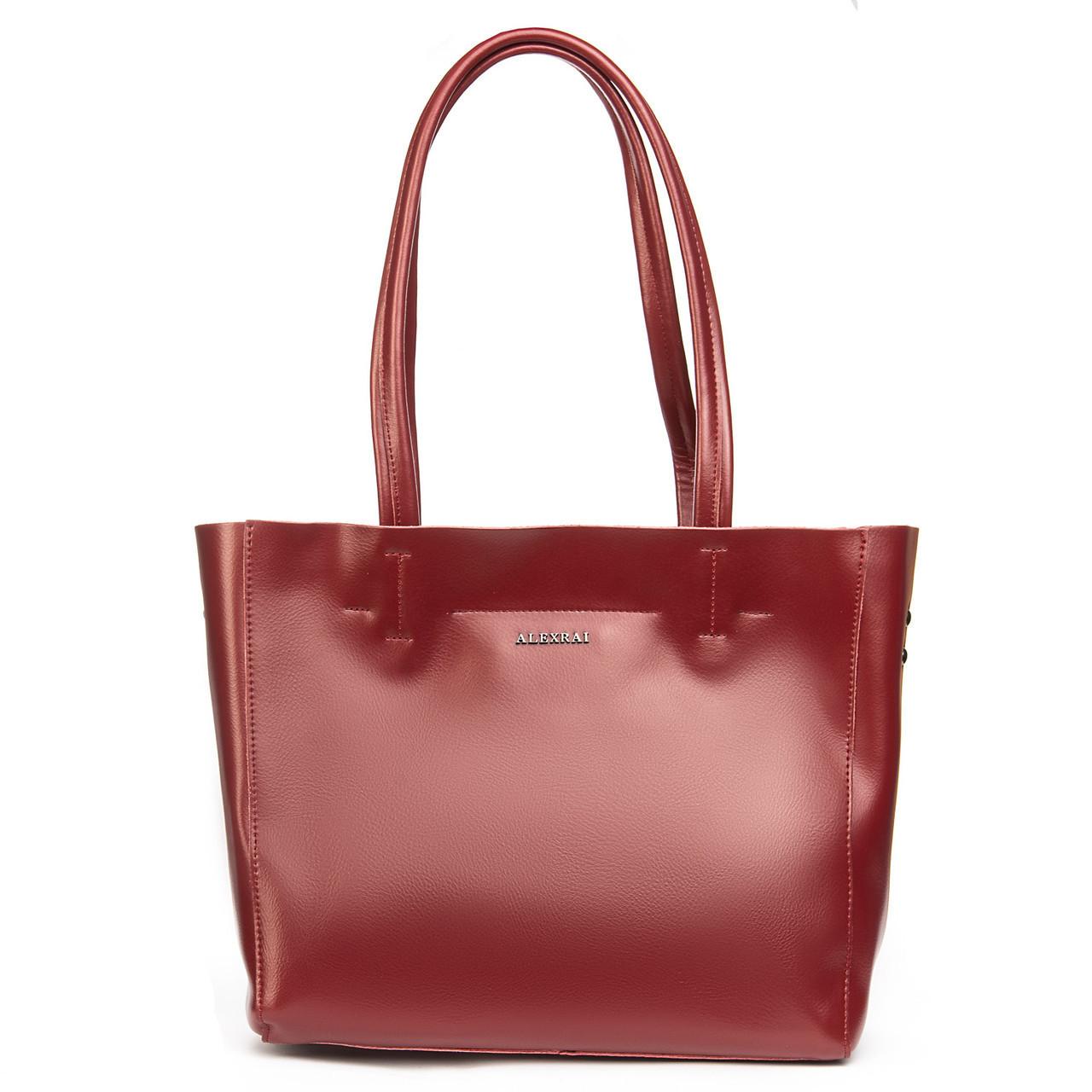Женская кожаная сумка красного цвета