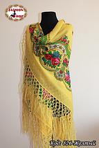 Настоящий жёлтый платок шерстяной с люрексом , фото 3