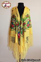 Настоящий жёлтый платок шерстяной с люрексом