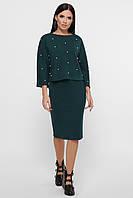 Женский трикотажный темно-зеленый костюм с юбкой, фото 1