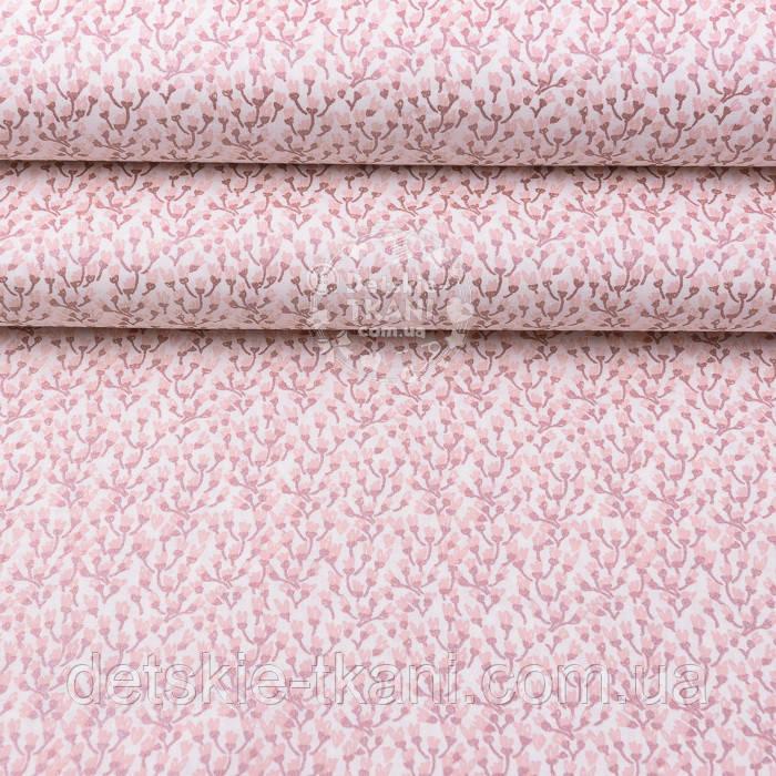 """Ткань шириной 240 см """"Мелкие веточки из розового  глиттера""""  (№2541)"""