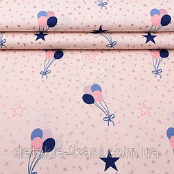 """Ткань шириной 240 см """"Шарики и звёзды"""" с розовым глиттером  (№2542)"""