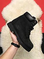 Ботинки женские Timberland Black Thermo Premium (Деми) / Тимберленд, черные, нубук, натуральный мех