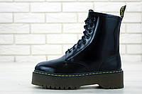 Ботинки зимние С МЕХОМ Dr.Martens Jadon 8-Eye Boot Black Polished Smooth / Доктор Мартинс, черные
