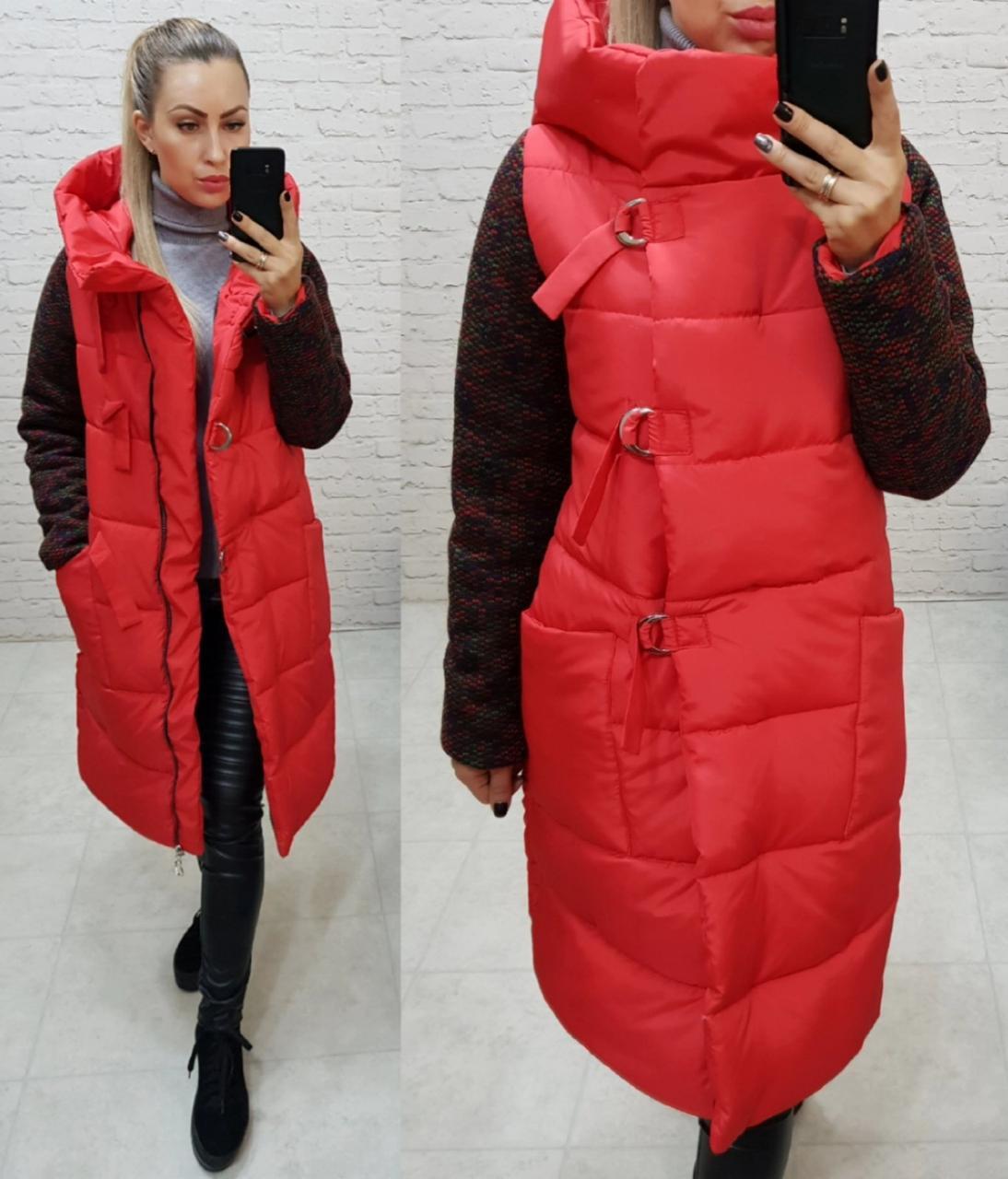 Новинка! Стильное тёплое пальто пуховик на змейке и утеплённым рукавом, арт 181, цвет красный