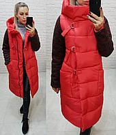 Новинка! Стильное тёплое пальто пуховик на змейке и утеплённым рукавом, арт 181, цвет красный, фото 1