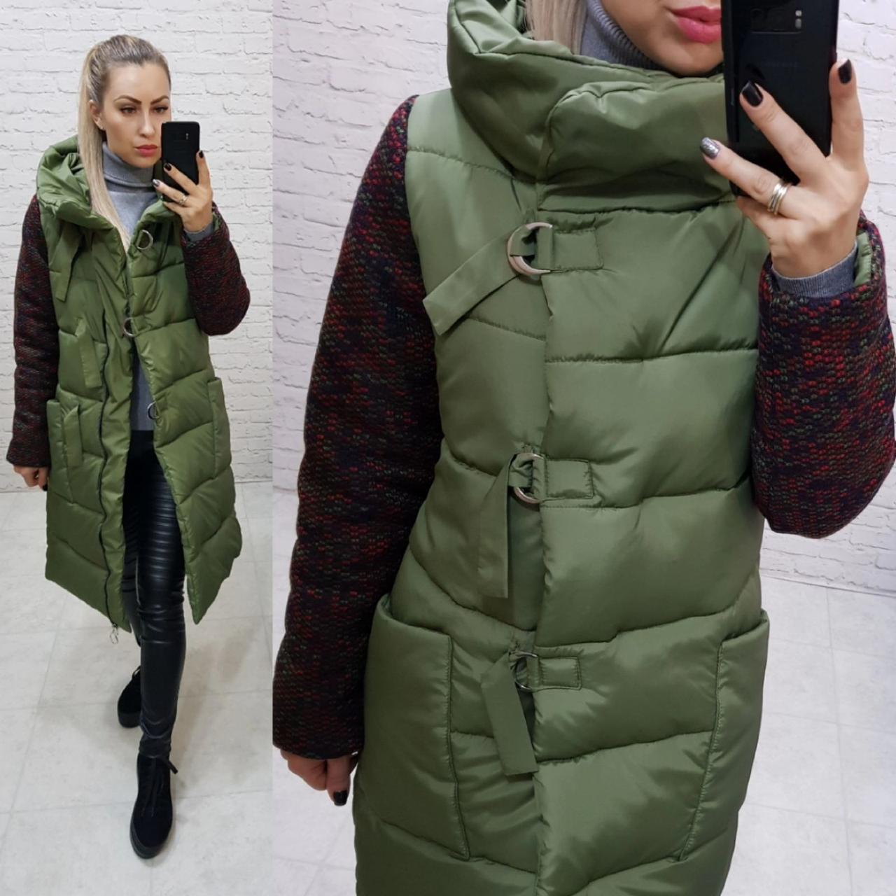 Новинка! Стильное тёплое пальто пуховик на змейке и утеплённым рукавом, арт 181, цвет хаки