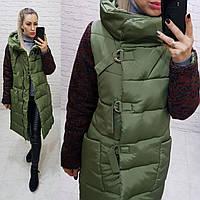 Новинка! Стильное тёплое пальто пуховик на змейке и утеплённым рукавом, арт 181, цвет хаки, фото 1