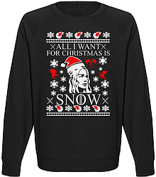 Мужской свитшот Game Of Thrones - All I Want For Christmas Is Snow (чёрный)