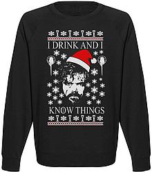 Мужской свитшот Game Of Thrones - I Drink And I Know Things (чёрный)