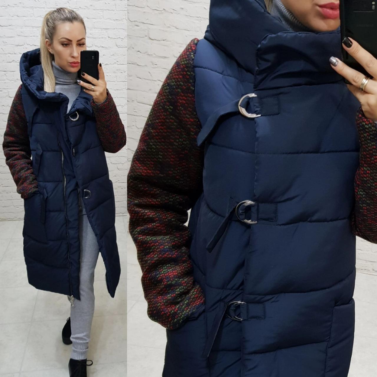 Новинка! Стильное тёплое пальто пуховик на змейке и утеплённым рукавом, арт 181, цвет синий