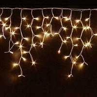 Гирлянда  бахрома,прозрачный шнур, 3*0,70 м, 120 LED с переходником. Золото