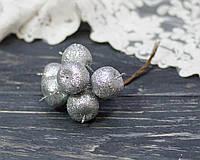 Яблоки в блестках -серебро 6 шт, фото 1