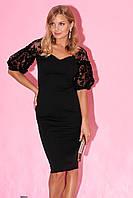Вечернее платье-футляр черного цвета с вырезом сердечком. Модель 23265. Размеры 42-48