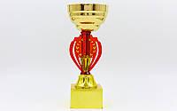 Кубок спортивный с местом под жетон h-19см HQ905C (металл, пластик, h-19см, b-6см, d -8см,золото)КодHQ905C