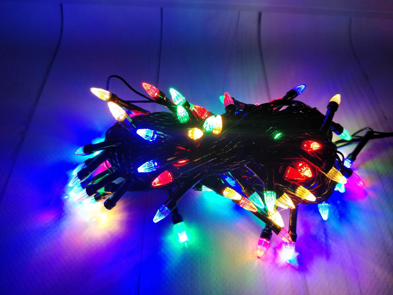 Гирлянда LED разноцветная конус 100 ламп Длина 8м на черном проводе