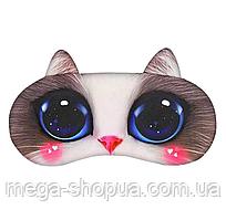 """Удобная и милая маска для сна """"3D Animal Faces - 1"""". Повязка для сна. Маска на глаза для сна. Маска для сну"""