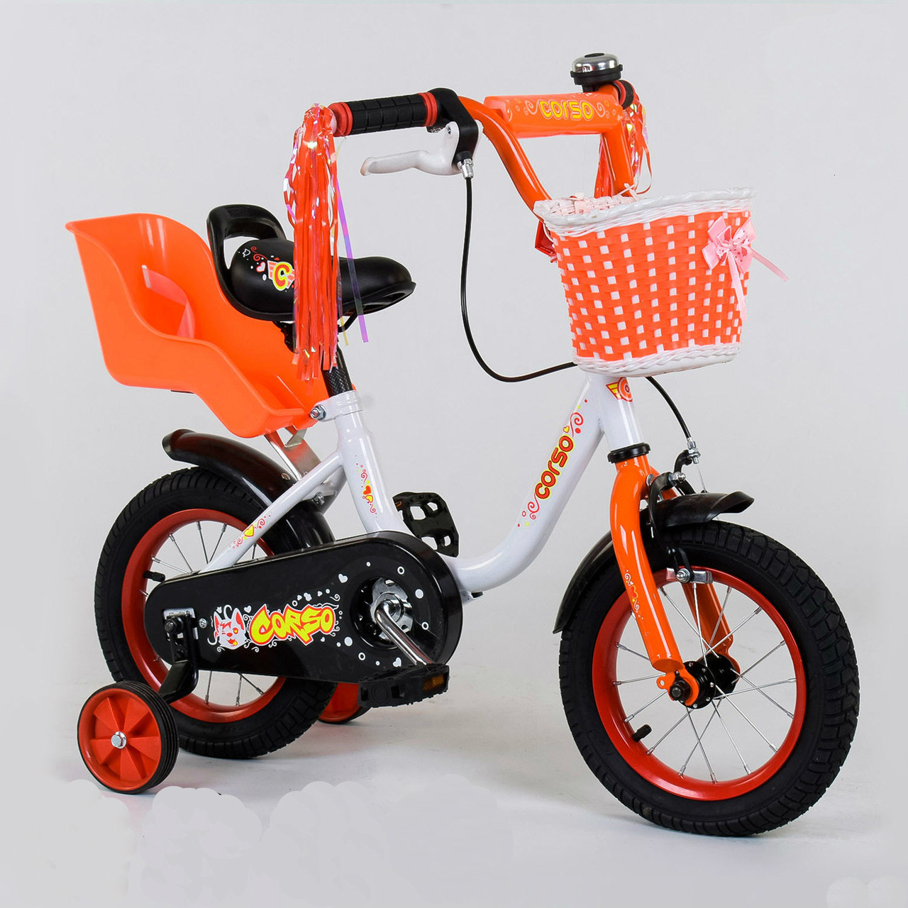 """Велосипед 12"""" дюймов 2-х колёсный 1285 """"CORSO"""",  ручной тормоз, корзинка"""