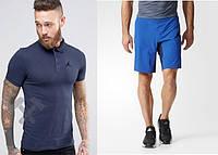 Мужской комплект поло + шорты в стиле Jordan синего и голубого цвета
