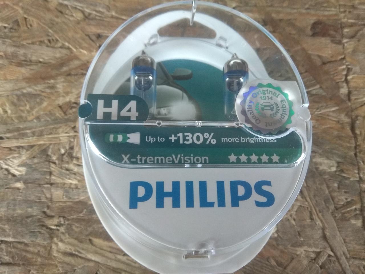 Лампа автомобильная Н4 Р43 12V 60/55W PHILIPS X-treme Vision +130% комплект 2шт