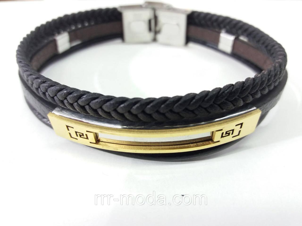 308. Кожаные браслеты фенечки мужские - браслеты из кожи, модные украшения для мужчин со сталью оптом