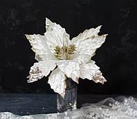 Квітка пуансетії оксамитової крем з паєтками, фото 1
