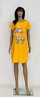 Домашнее платье для сна разных цветов из хлопка с мышами 46-58 р