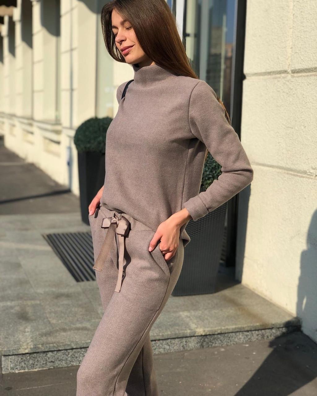 Теплый прогулочный костюм вязаный трикотажный шерстяной спортивный кофейный мокко коричневый серый