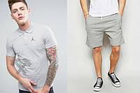 Мужской комплект поло + шорты в стиле Jordan серого цвета