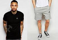 Мужской комплект поло + шорты в стиле Jordan серого и черного цвета