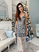 Платье женское красивое гипюр с блестками и подкладка миди Sml3884