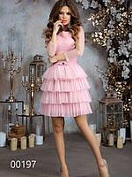 Платье для встречи Нового года с многоярусной юбкой из сетки, 00197 (Розовый), Размер 46 (L)