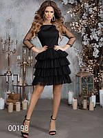 Вечернее платье декорированное сеткой, 00198 (Черный), Размер 46 (L)