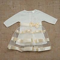 Платье с длинным рукавом Маленькая леди Бетис интерлок 98 цвет молочный