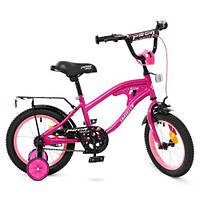 Велосипед дитячий PROF1 14д. Y14183 TRAVELER, дзвінок, дод. колеса,  малиновий., фото 1