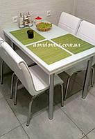 """Комплект обеденной мебели """"Beyaz"""" (стол ДСП, каленное стекло + 4 стула) Mobilgen, Турция"""