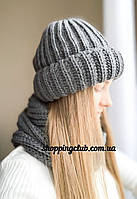 Комплект: шапка + хомут (снуд) темно-серый шерсть/акрил