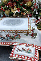 """Скатерть гобеленовая """"Новогодняя"""" 140х140 см 716-001"""