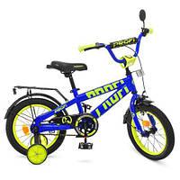 Велосипед дитячий PROF1 14д. T14175 Flash, дзвінок, дод. колеса, синій., фото 1
