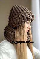 Комплект: шапка + хомут (снуд) коричневый шерсть/акрил