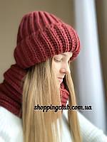 Комплект: шапка + хомут (снуд) бордо шерсть/акрил