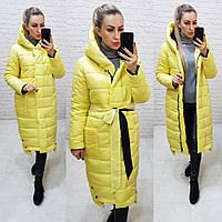 Куртка длинная зимняя одеяло молния на кнопках матовая арт. M032 желтая / желтого цвета