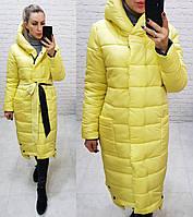 Зимняя длинная женская куртка-пальто на силиконе желтая / желтого цвета M032
