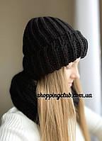 Комплект: шапка + хомут (снуд) черный шерсть/акрил