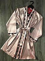 Шелковый халат с кружевом ТМ Exclusive 090, женские халаты.