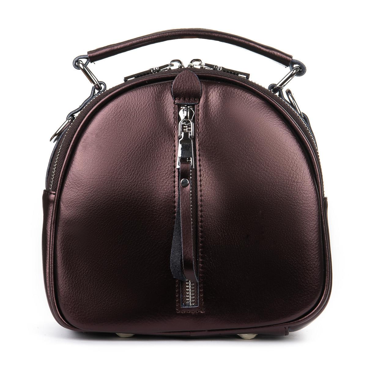 Клатч-рюкзак женский кожаный светло-коричневый