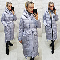Курточка зимняя матовая приталенная кнопки и молния арт. M032 серая / серого цвета