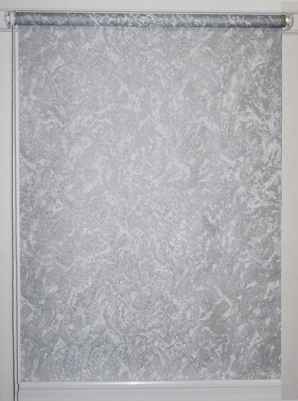 Готовые рулонные шторы 825*1500 Ткань Miracle (миракл) Серебро 09