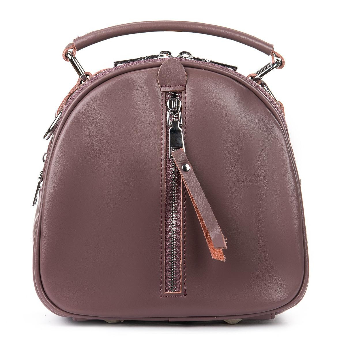Рюкзак трансформер (сумка) женский натуральная кожа в цвете purple