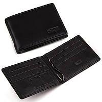Кожаный кошелек зажим для денег Kafa черный, на магните (282-1)